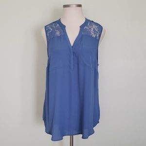 Torrid Blue Blouse with Lace